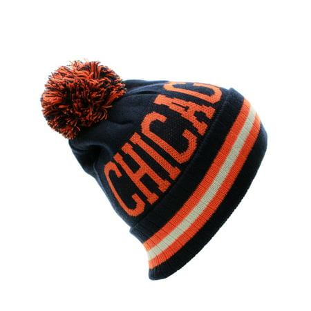 US Cities Block Letters Cuff Beanie Knit Pom Pom Hat Cap ()