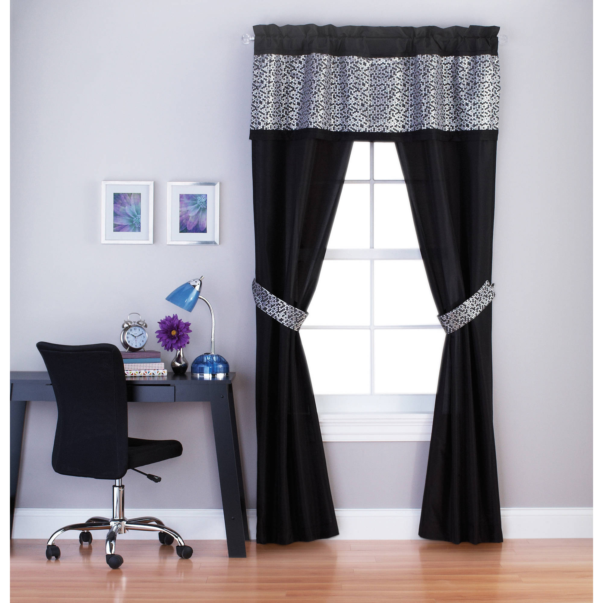 "Your Zone Sparkle  84"" Length Girls Bedroom Curtain Set"
