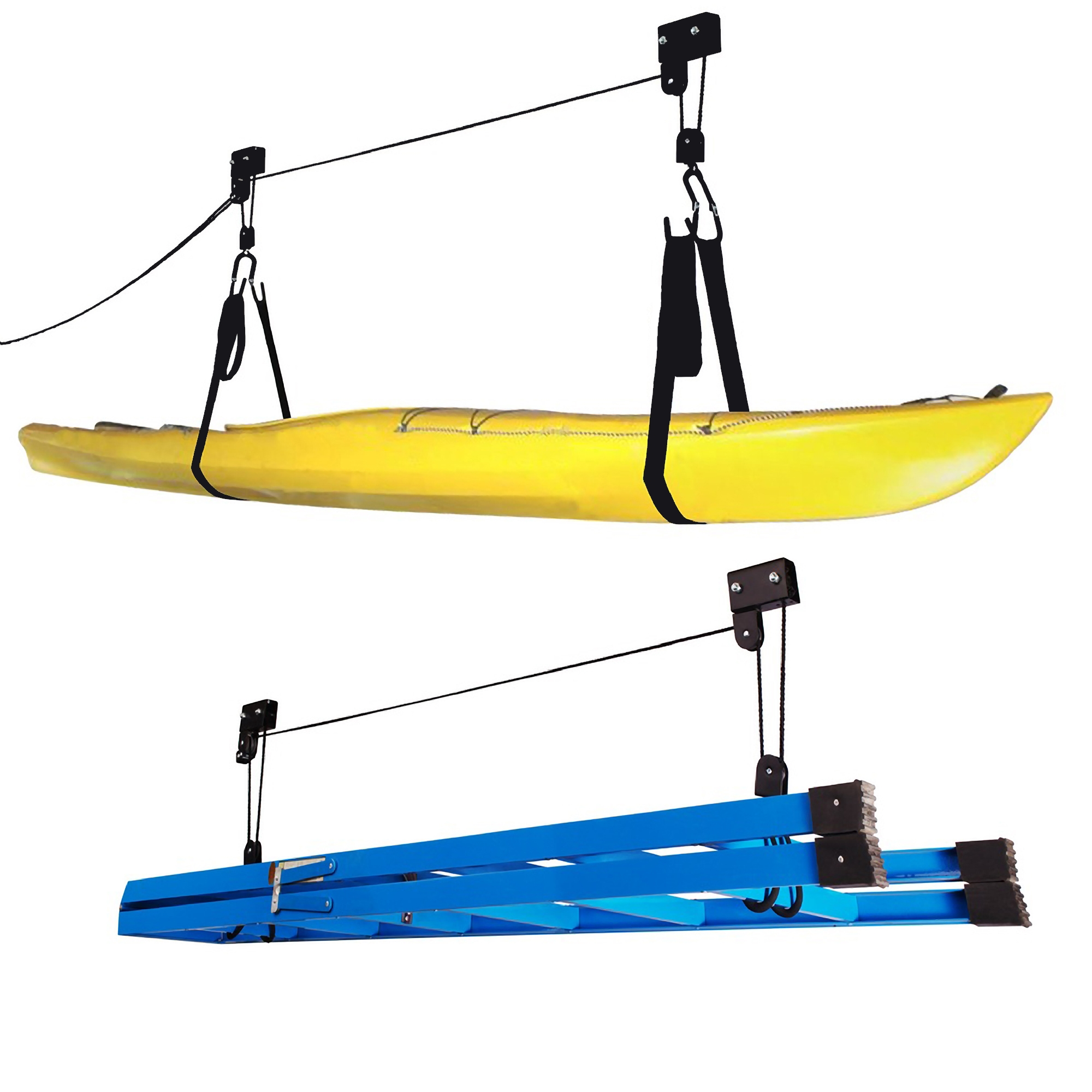 Kayak Hoist Lift Garage Storage Canoe Hoists 125 lb Capacity - Two 2 Pack