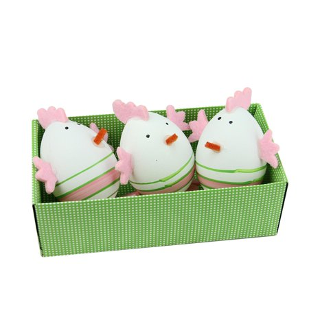 Set of 3 Pink and Green Striped Felt Easter Egg Chicken Spring Figure Decorations 2.75