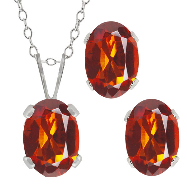 1.50 Ct Oval Orange Red Madeira Citrine Sterling Silver Pendant Earrings Set