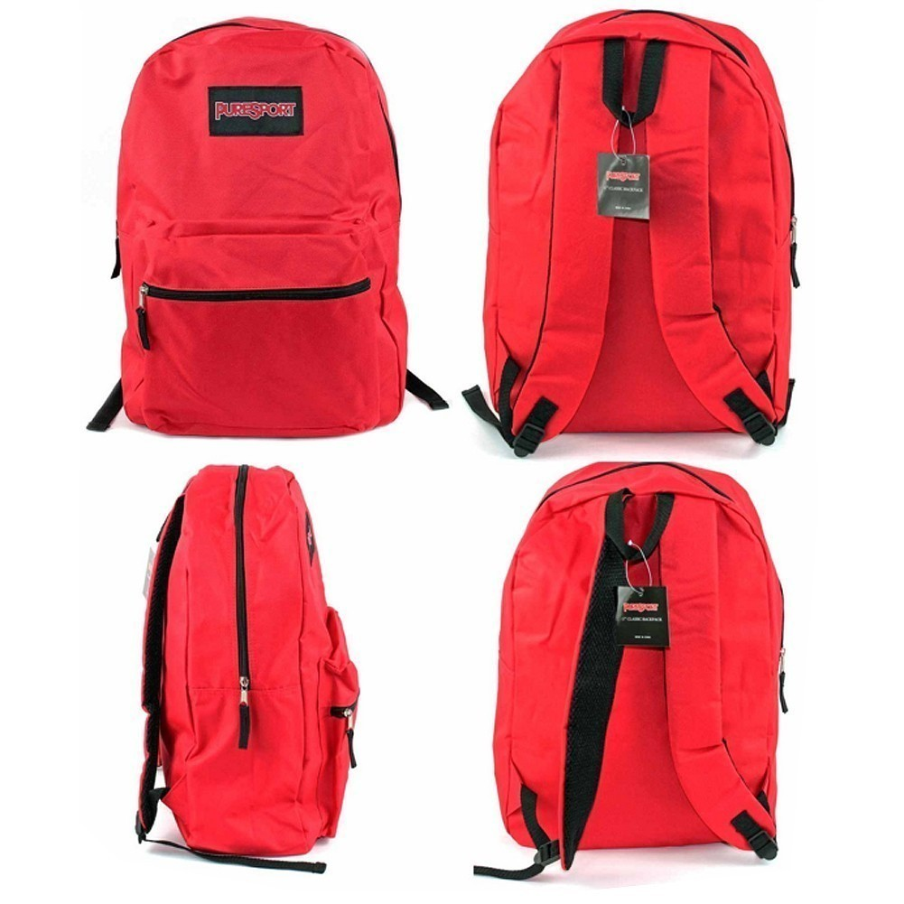 """PureSport Girls Red Zippered Padded Strap Classic Backpack 15""""x10.6""""x5"""" by Eros wholesale"""