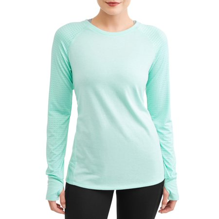 Pima Crewneck Tee - Women's Active Long Sleeve Crewneck Performance T-Shirt