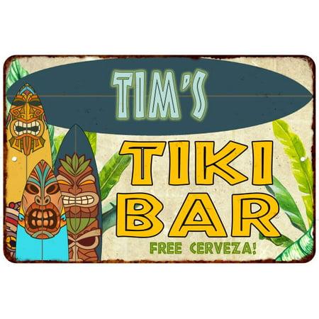 Tim's TIKI BAR Island Personalized Sign Metal Wall Decor 8 x 12 High Gloss Metal 208120058466 Sign Surf Decor Tiki Bar
