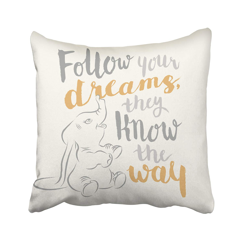 ARTJIA Dumbo Follow Your Dreams Pillowcase Cover 16x16 inch