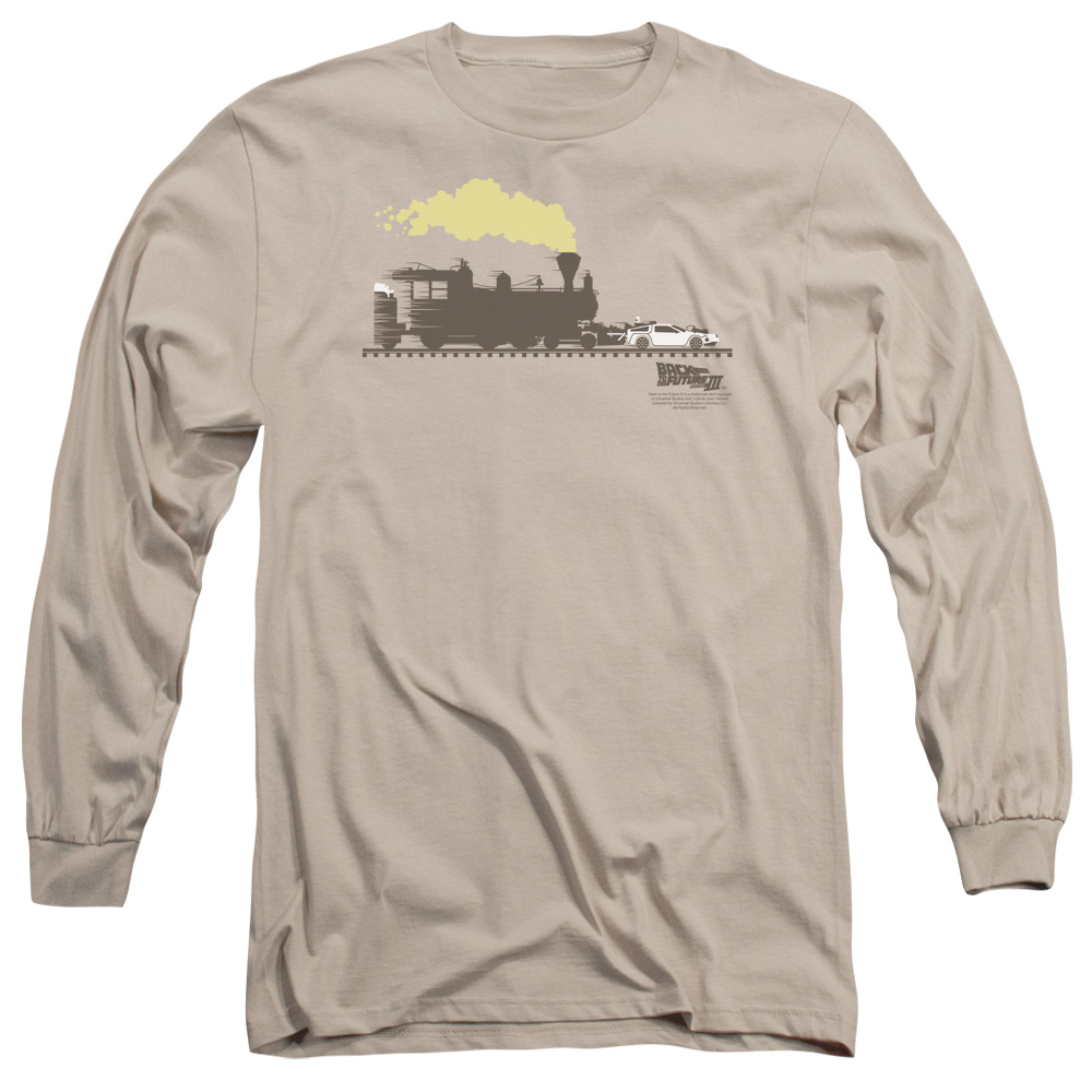 Back To The Future Iii Pushing The Delorean Mens Long Sleeve Shirt