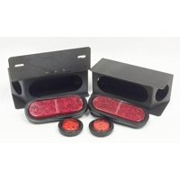 """Set of 2 Steel Trailer Angled Light Boxes w/ 6"""" Red Oval & 2"""" Round Red LED Lights"""