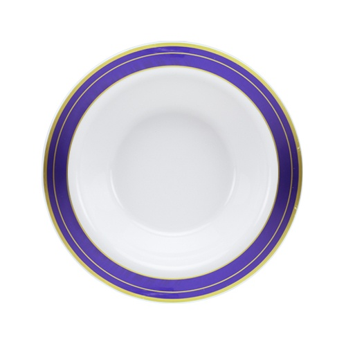 Lillian Dinnerware, Magnificense Plastic Bowl, Pearl - Blue / Gold Border, 14 Oz, 10 Ct