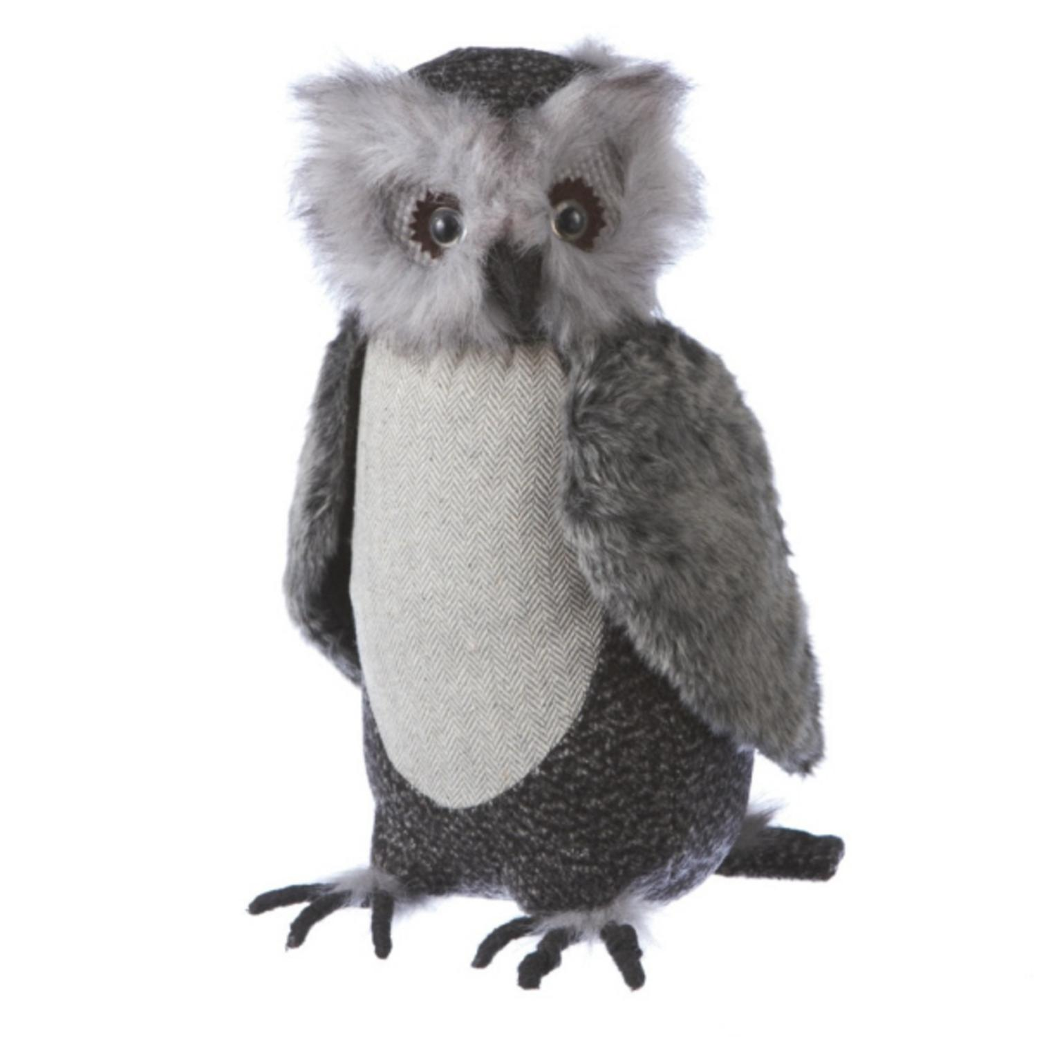 "15.5"" Country Cabin Large Soft Plush Gray Owl Stuffed Animal Figure"