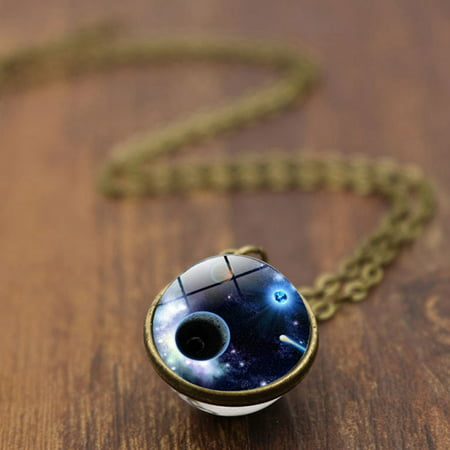 AkoaDa Space Universe Galaxy Planet Pendant Necklace Women Girls Time Gem Glass Ball Choker Pendant Rope Chain Necklaces Gift Jewelry Glass Multi Stone Pendant