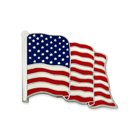 PinMart's Made in USA American Flag Jewelry Qualtiy Silver Enamel Lapel Pin