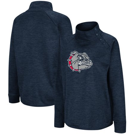 Gonzaga Bulldogs Colosseum Women's Marled Side Snap Pullover Jacket - Heathered Navy Gonzaga Bulldogs Jacket