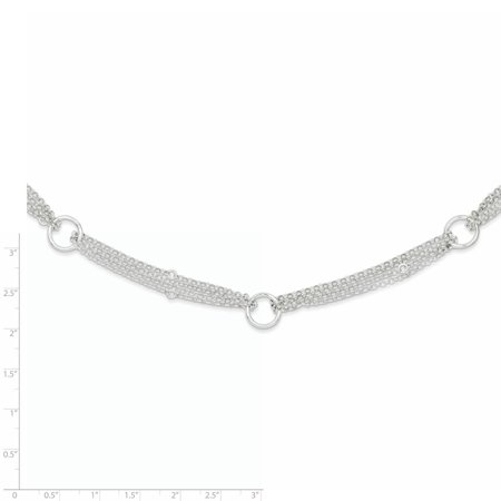 Sterling Silver Polished Multi-Strand Fancy Circle Necklace (Weight: 10.86 Grams, Length: 18 Inches) - image 1 de 2