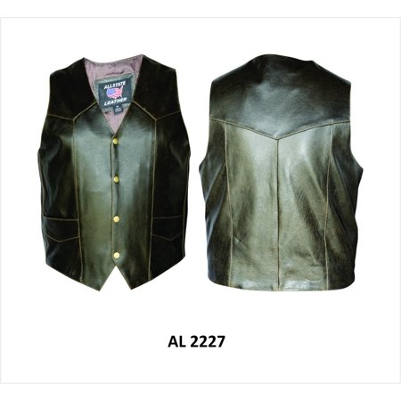 - Men's 46 Size Plain Retro brown Buffalo Leather 2 inside 2 outside pocket Vest