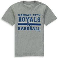 MLB Kansas City ROYALS TEE Short Sleeve Boys OPP 90% Cotton 10% Polyester Gray Team Tee 4-18