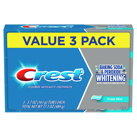 Crest Cavity & Tartar Protection Toothpaste, Whitening Baking Soda & Peroxide, 5.7 Oz, Pack of 3
