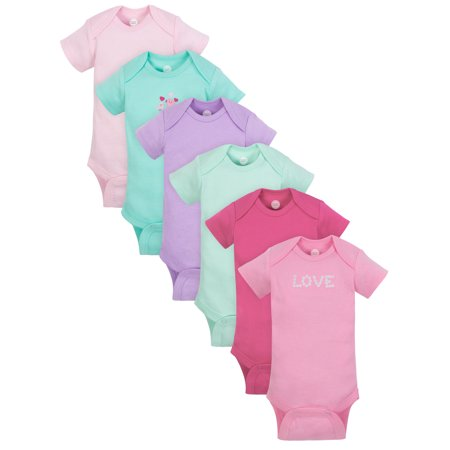 Wonder Nation Short Sleeve Bodysuits, 6pk (Baby Girls)