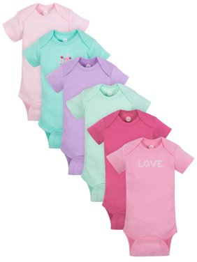 8d5022f6fd6e6 Product Image Wonder Nation Short Sleeve Bodysuits, 6pk (Baby Girls)