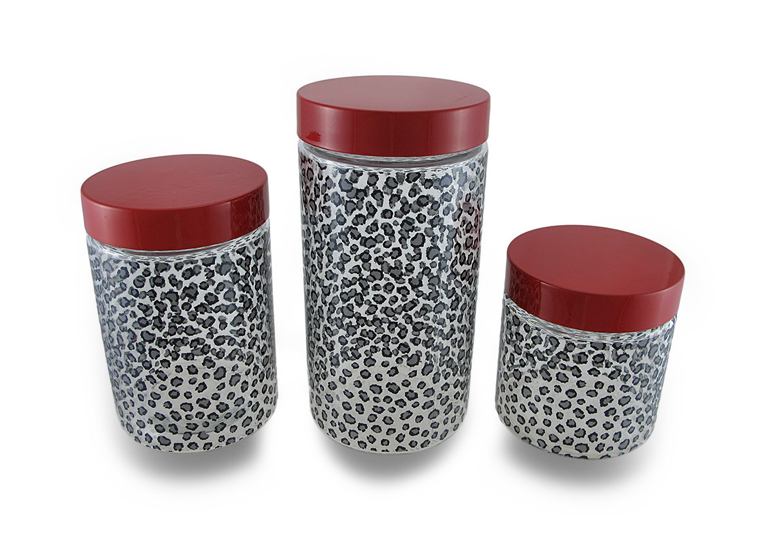 Set Of 3 Black And Gray Cheetah Print Clear Glass Storage Jars W/Red Lids