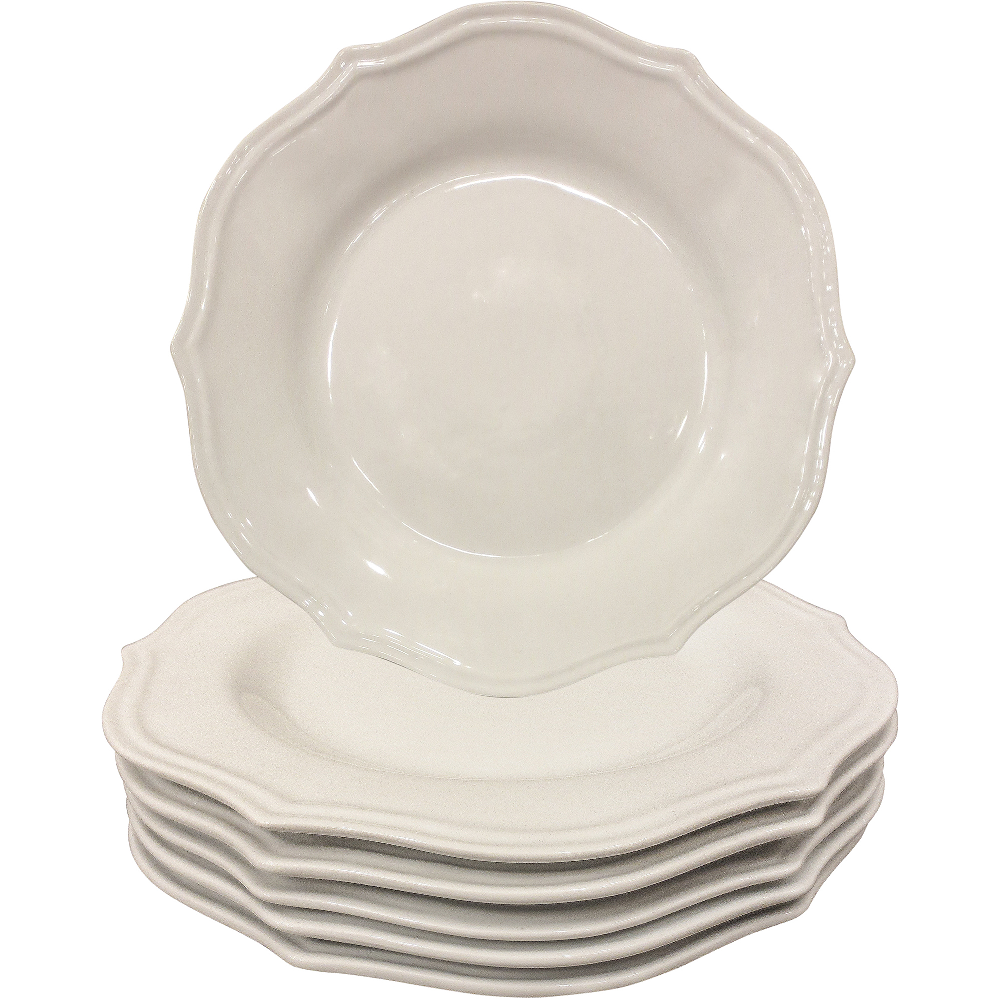 better homes and gardens scalloped dinner plates white set of 6 - Square Dinner Plates