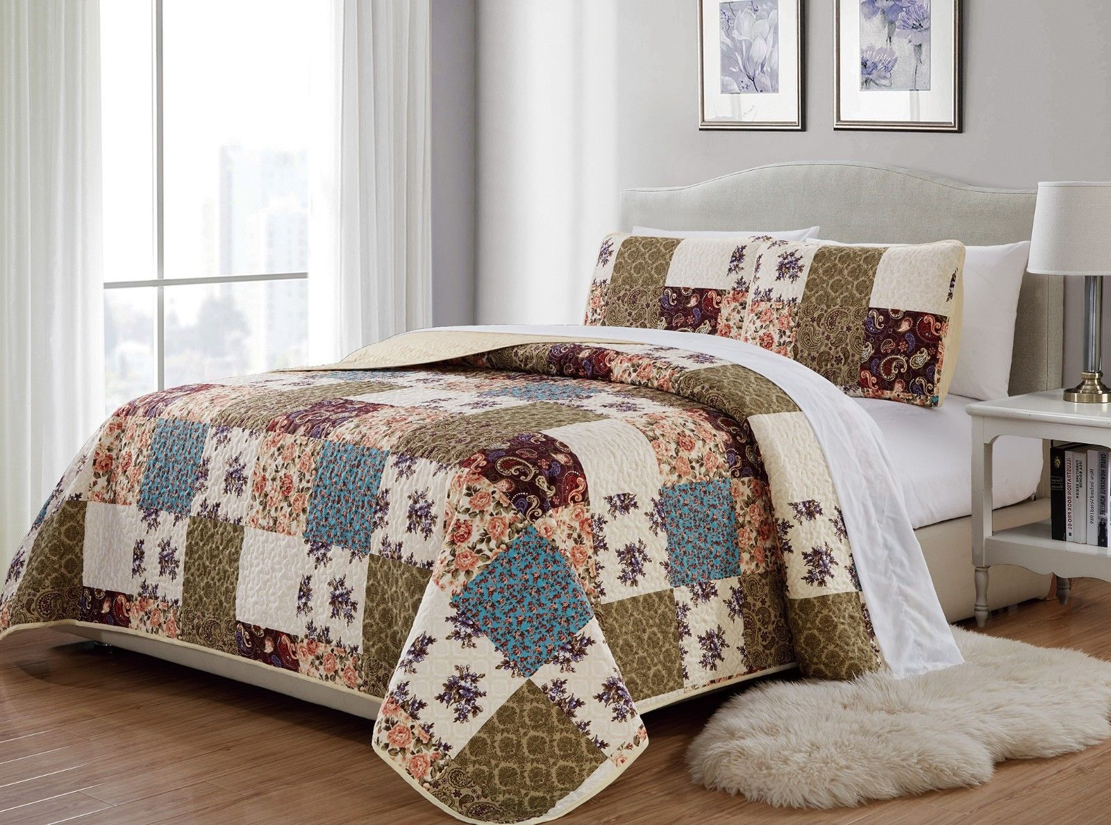 Fancy Linen 3pc Full Queen Bedspread Quilted Print Floral