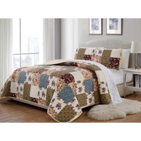 Fancy Linen 3pc King/California King Bedspread Quilted Print Floral Beige Burgundy Purple Blue Taupe Over Size New # Milano 62