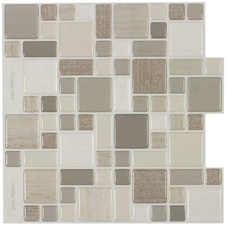 MTO0402 Peel and Stick Modular Brown Beige Khaki Glossy Resin Vinyl Mosaic Tile