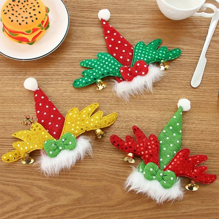 3PCS Santa Claus Christmas Hat Decor Fork Bags Spoon Cover Dinner Tableware Case ()