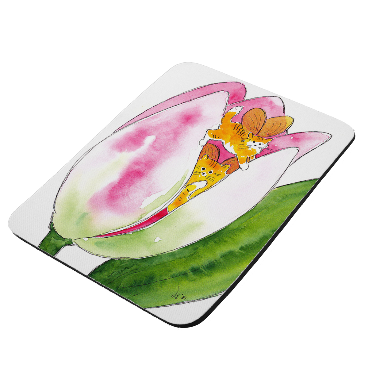 Tiny Tiger Kittie Fairies with Pink Tulip Fantasy Cat Art by Denise Every - KuzmarK Mousepad / Hot Pad / Trivet