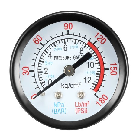 "Dry Pressure Gauge, 0-180 PSI/0-20 BAR Dual Scale , 1.8"" Dial , 1/8"" NPT Male Center Back Mount"