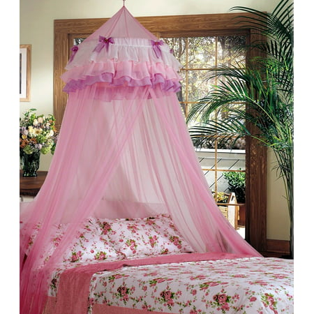 Elegant Lace Bed Mosquito Netting Mesh Canopy Princess Round Dome Bedding