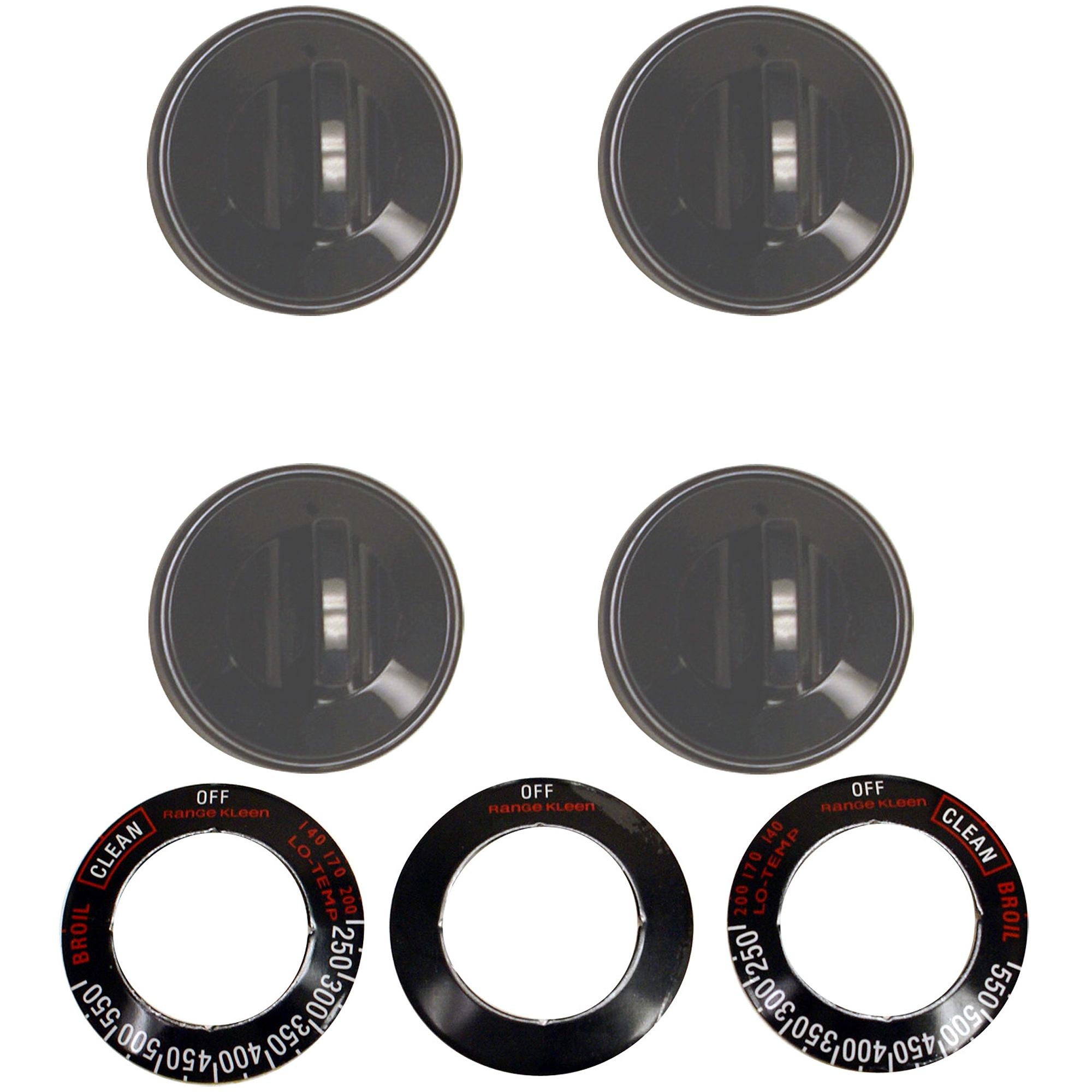 Range Kleen 16-Piece Replacement Knob Kit for 4 Knobs, Gas Ranges, Black