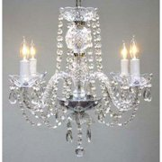 "New! Authentic All Crystal Chandelier H17"" x W17"" Swag Plug-In"