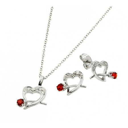 Cubic Zirconia Heart With Red Rose Stud Earrings And Necklace Set Rhodium Plated Sterling Silver (Squash Blossom Necklace Earrings)