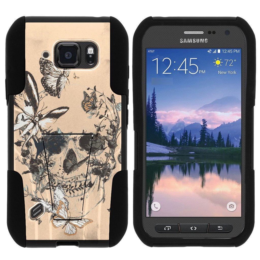 Samsung Galaxy [S6 Active model] G890 STRIKE IMPACT Dual Layered Shock Resistant Case with Built-In Kickstand by Miniturtle® - Beige Skull Flower