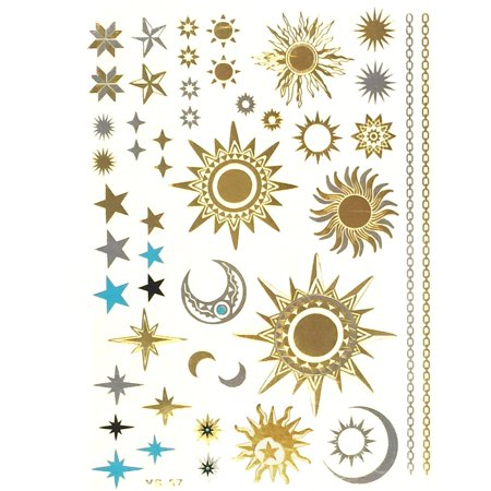 ALLYDREW Large Metallic Gold Silver & Black Body Art Temporary Tattoos - Sun, Moon, (Black And White Tattoos With Pops Of Color)
