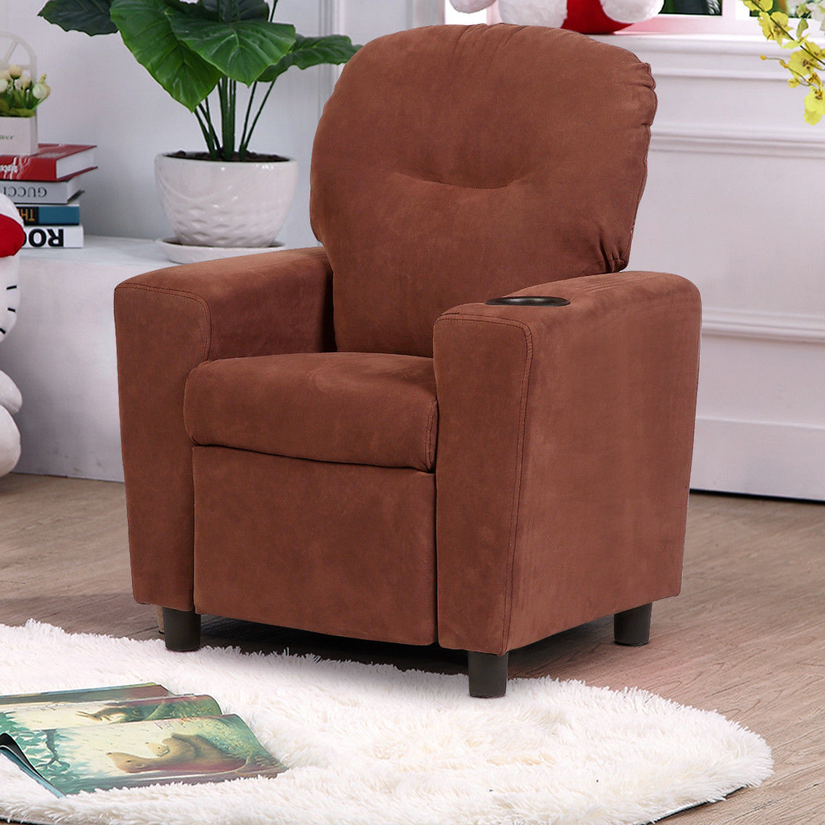 Attrayant Costway Kids Recliner Armchair Childrenu0027s Furniture Sofa Seat Couch Chair W/Cup  Holder Brown