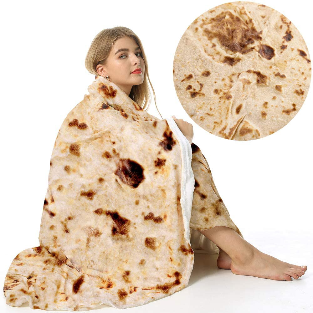 Giant Flour Tortilla Throw Blanket,Soft and Comfortable Flannel Taco Blanket for Kids,866Red 47in Burritos Blanket