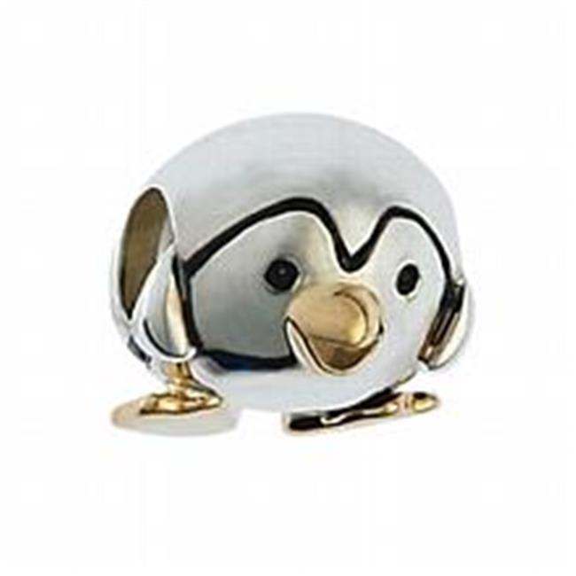 Marketplace 161025 Gold Penguin - Bead in Sterling Silver & 14K Yellow Gold Moress XGS-21