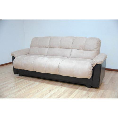 Primo Ara Convertible Futon Sofa Bed with Storage, Hazelnut