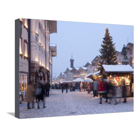 Christmas Tree With Stalls and People at Marktstrasse in the Spa Town of Bad Tolz, Bavaria Stretched Canvas Print Wall Art By Richard Nebesky (People Of Spa)