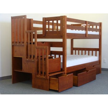 621ba22f949cd7 Bedz King Stairway Bunk Beds Twin over Twin with 3 Drawers in the Steps and  2 Under Bed Drawers, Espresso - Walmart.com