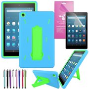 """Fire HD 8 Case 2016, EpicGadget(TM) Amazon Fire HD 8"""" (6th Generation 2016 release) Kid-proof Case Full Body Cover with Kick Stand For Fire HD 8 inch Display + Fire HD 8 Screen Protector(Blue/Green)"""