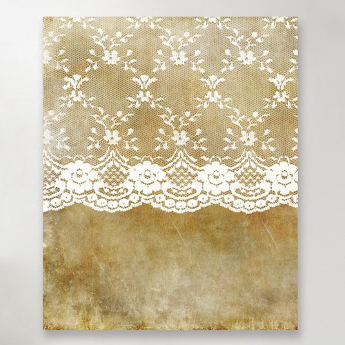 East Urban Home 'Lace Elegance Shabby Vintage' Graphic Art Print on Canvas