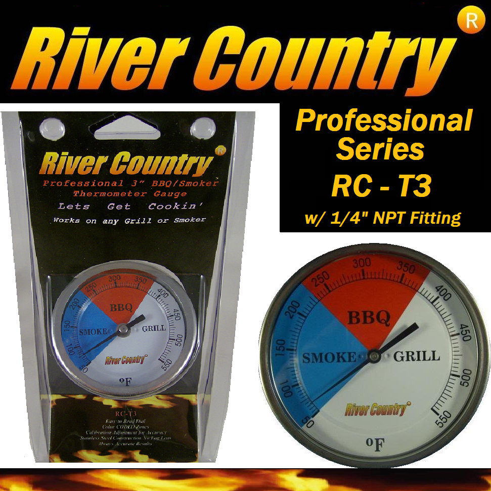 "River Country Easy Mount 3"" Color Coded Dial BBQ / Grill / Smoker Thermometer"