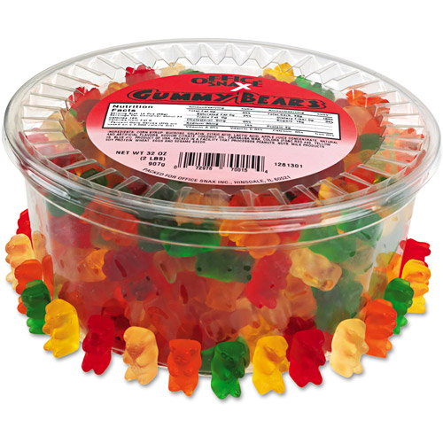 Office Snax Gummy Bears, Assorted Flavors, 2 lb Tub by OFFICE SNAX, INC.