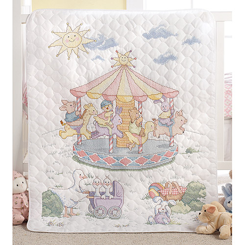 Little Carousel Crib Cover Stamped Cross