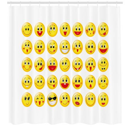 Emoji Shower Curtain Funny Yellow Heads Various Facial Expressions Round Shapes Happy Sad Laughing