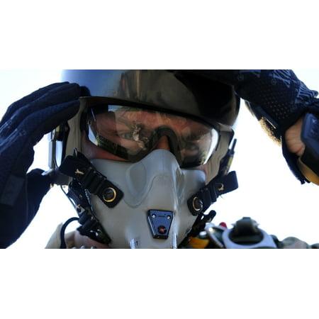A US Airman secures his oxygen mask Canvas Art - Stocktrek Images (37 x 21)