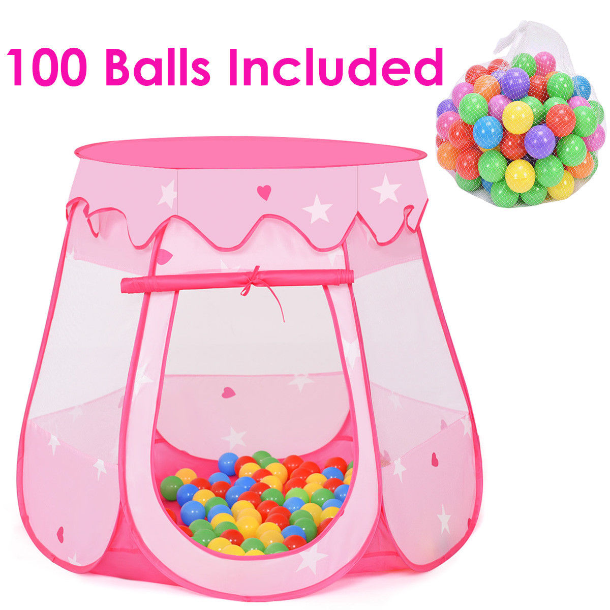 Costway Kid Outdoor Indoor Princess Play Tent Playhouse Ball Tent Toddler Toys w/ 100 Balls